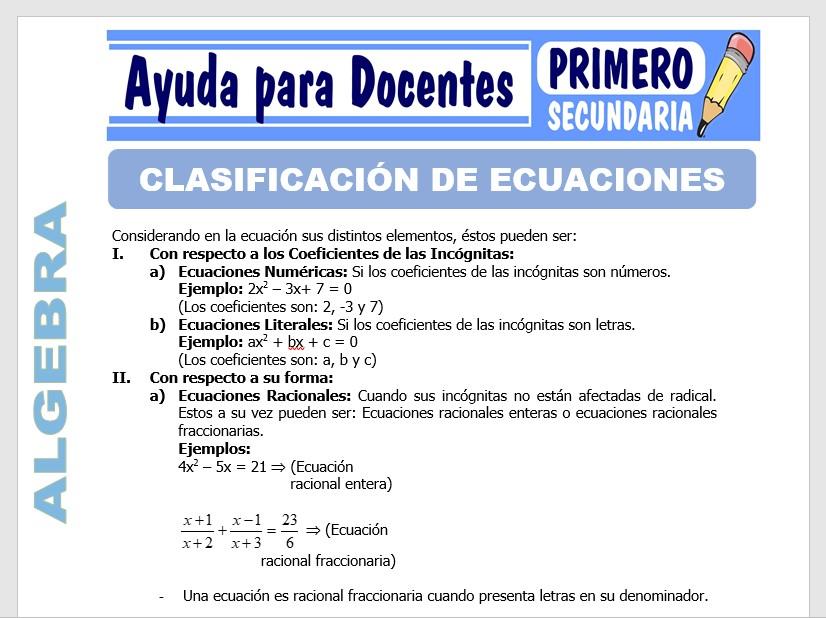 Modelo de la Ficha de Clasificación de Ecuaciones para Primero de Secundaria