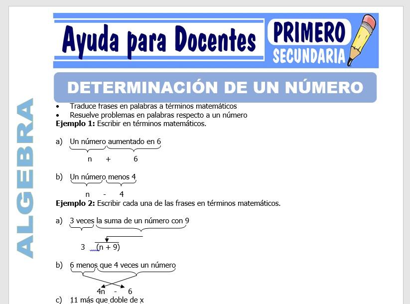 Modelo de la Ficha de Determinación de un Número para Primero de Secundaria