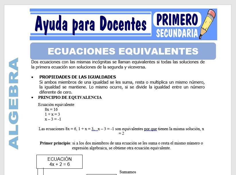Modelo de la Ficha de Ecuaciones de Equivalentes para Primero de Secundaria