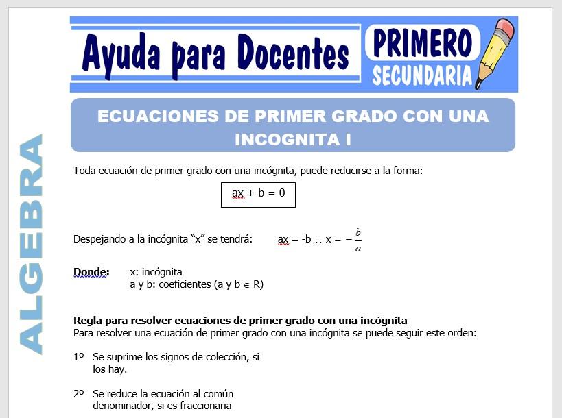 Modelo de la Ficha de Ecuaciones de Primer Grado para Primero de Secundaria