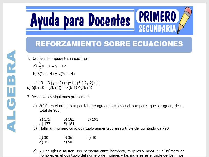 Modelo de la Ficha de Reforzamiento Sobre Ecuaciones para Primero de Secundaria
