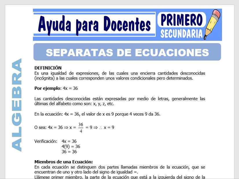 Modelo de la Ficha de Separatas de Ecuaciones para Primero de Secundaria